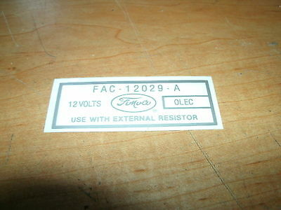 1959 1960 1961 1962 1963 Ford Galaxie Sunliner Starliner 12 Volt Coil Decal