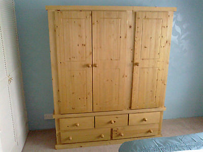 Old Mill Pine Factory Aylesbury Triple 5 Dwr Wardrobe Antique Waxed No Flat Pac