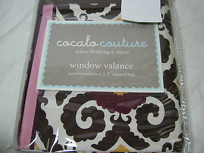 Cocalo Couture Jasmine Window Valance 18x72 Plum, White Scroll Nip