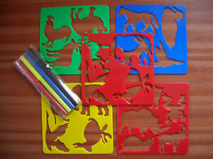 Childrens Kids 4 x Animal Stencils 4 x Colouring Pens Set Crafts Creative & Fun