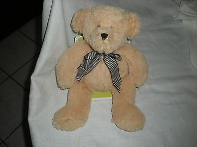 Circo Target Baby Tan Houndstooth Bow Brown Plush Bear In Box Lovey 12
