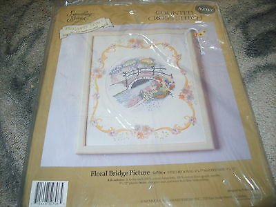 Counted Cross Stitch Floral Bridge Picture Craft Kit With Frame & Mat Chic