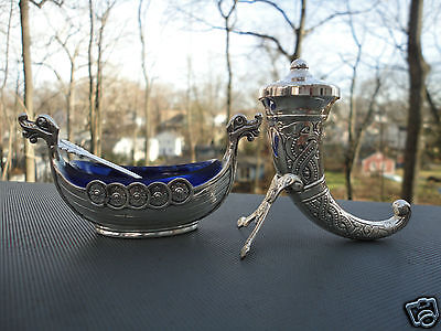 Silver Viking Boat Open Salt Pepper Blue Glass Liner Spoon Theodor Olsen Norway on Rummage