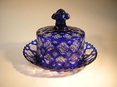 Käseglocke,Butterdose,Glas,Kristall,Schliff,Muster,blau,um1920