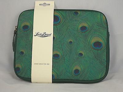 Lucky Brand Green Peacock Print Neoprene Zip Sleeve Tablet Case Cover Hom0024