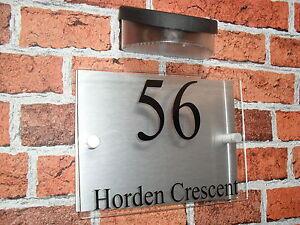 house sign with solar light modern house sign house plaque number sign. Black Bedroom Furniture Sets. Home Design Ideas