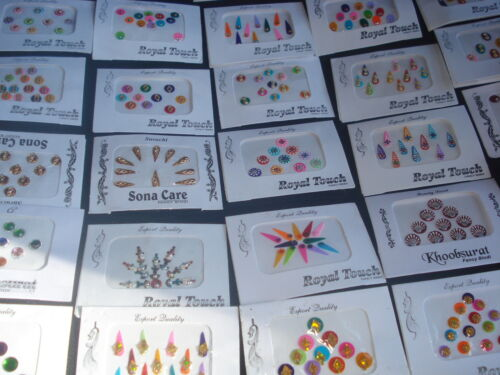(3BI/D7) 9 PACK BEAUTIFUL INDIAN TRADITIONAL BINDIS(STICKER TATTOOS)(USA SELLER)