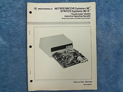 Motorola Mitrek Micor Systems 90 Syntor 90s Touchcode Mobile Decoder Manual 343