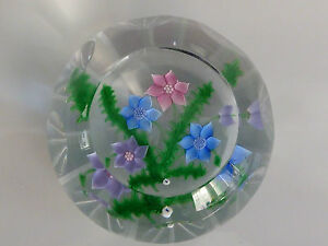 RARE-Caithness-WHITEFRIARS-Faceted-BOUQUET-AND-FERNS-97-150-Paperweight-LE-EC