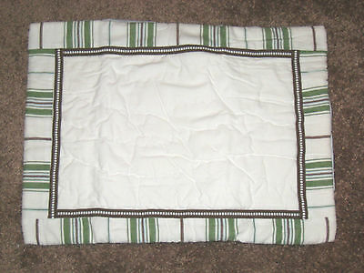 Pottery Barn Boys Chase Quilted Pillow Sham Green Brown Couvre Oreiller Small