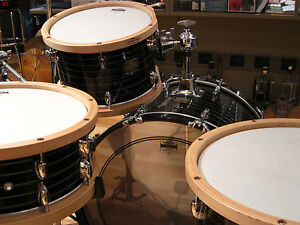Yamaha-Club-Custom-4-piece-4pc-Black-Swirl-Drum-Set-Kit-w-Wood-Hoops