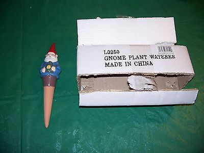 Cute 8 Inch Gnome Figure Plant Waterer Watering Stick Ceramic Pottery