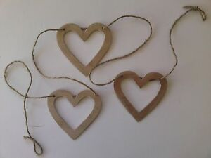 Wooden Rustic Hanging Heart Garland Home/Wedding/Christmas Wall/Door Decoration