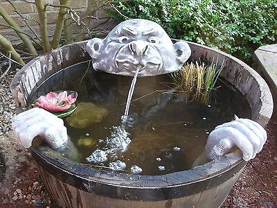Steinfigur Wasserspeier Garten Deko-Gartenfigur Koi Teich Wasserspucker