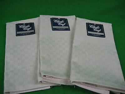Lot of 3 NWT Cross Stitch Fabric Towels Cottage Check Charles Craft - Ecru
