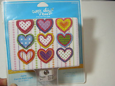 Oopsy Daisy Too Hearts Canvas Night Light Nip By Lori Siebert