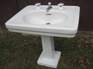 ... -Vintage-American-Standard-Pedestal-Sink-w-Original-Faucet-Set-1920s