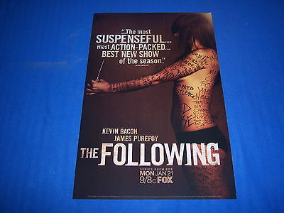 (2) Tv Series The Following Promo Posters - Kevin Bacon - Serial Killers -