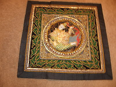 """Kalaga Tapestry Lady Thailand Beads Sequins  20"""" x 20"""" Beautiful"""