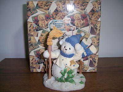 Cherished Teddies Buddy Snowbear With Scarf And Broom Figurine NIB