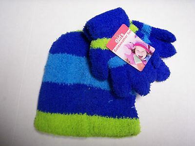 Glove & Hat Set, One Size Fits Most Bright Blue, Green, & Light Blue,