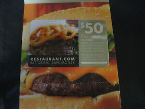 $50 Restaurant.Com Gift Card Gift Certificate Restaurant Coupon ~ GREAT DEAL!!