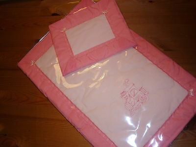 Handmade Doll's Bedding - Peach Embroided Quilt &pillow & Peach Nylon Binding