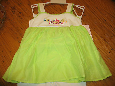 Girls 24 Month 2 Pc Summer Outfit Church Pageant Lime Green Top White Pant