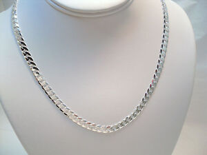 MENS-ITALY-SOLID-925-STERLING-SILVER-DIAMOND-CUT-CURB-LINK-CHAIN-NECKLACE-18