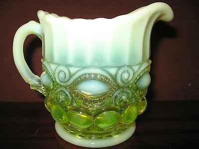 Vaseline opalescent glass eyewinker pattern Creamer cream pitcher uranium yellow