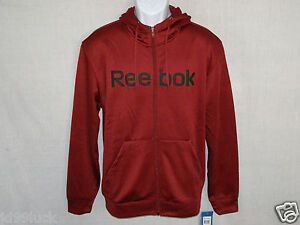 New-Mens-Reebok-Red-Full-Zipper-Fleece-Lining-Sweater-Hoodie-Size-Sm-or-Lg