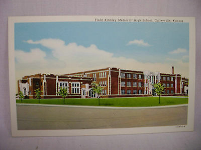 Vintage Postcard Field Kindley Memorial High School Coffeyville Kansas Unused