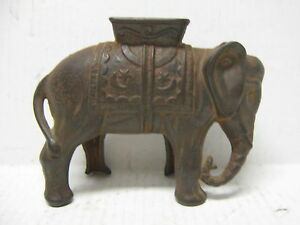 A-C-Williams-Elephant-w-Howdah-Cast-Iron-Bank-Vintage-Antique-Large-6-1-2-x5