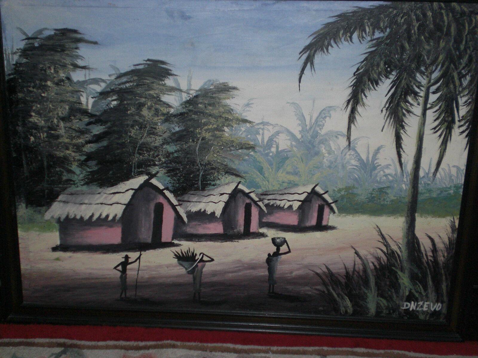 Grande peinture africaine a l huile ancienne eur 65 00 picclick be for Peinture a l ancienne