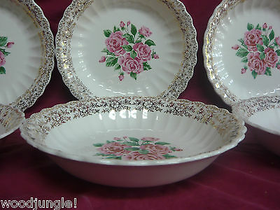 6 SEBRING POTTERY CHINA BOUQUETTE FILIGREE BOUQUET BOWLS SOUP CEREAL Vintage