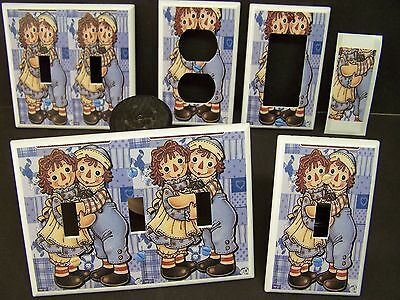 Classic Raggedy Ann And Andy 1 Blue Shades Light Switch Cover Plate Or Outlet