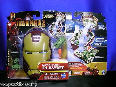1 Iron Man 2 Play Set Movie Series Micro Heads Play Set Iron Man Mark 3