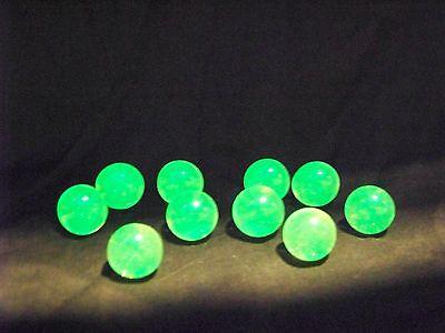 10 ULTRAVIOLET ( UV ) FLUORESCENT VASELINE URANIUM GLASS 9/16 MARBLES (ID192854