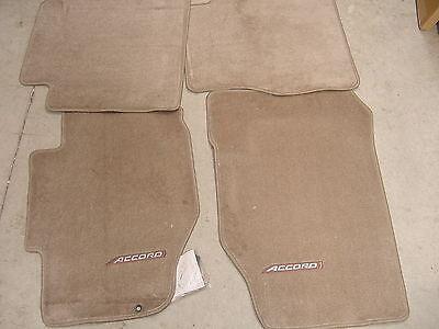 98-02 HONDA ACCORD 4DR CARPET FLOOR MATS in TAN GENUINE FACTORY OEM HONDA