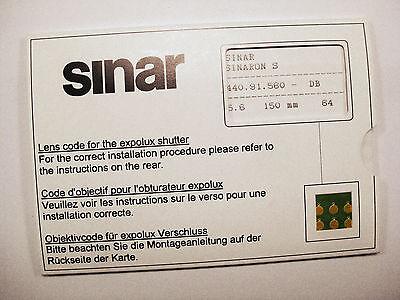 Sinar Expolux Shutter Lens Codes
