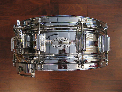 Vintage Rogers Dynasonic 5x14 Chrome Over Brass Snare Drum, 1967, No Reserve