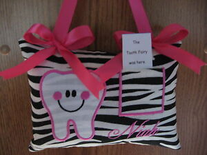 PERSONALIZED HAPPY TOOTH PILLOW~EMBROIDERED & APPLIQUED ~ zebra/hot pink