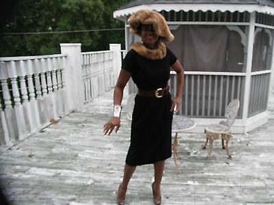 Fab  tea length Mink & Black Textured Poly dress gown + wide brim mink hat S 2-6