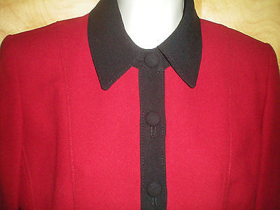 Womens Ladies Size 6p Red Black Petite Sophisticate L/s Blazer Jacket Coat