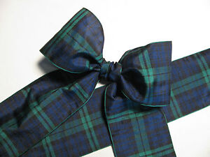 Blackwatch Blue & Green Tartan Plaid Ribbon Extra Wide 2 3/4