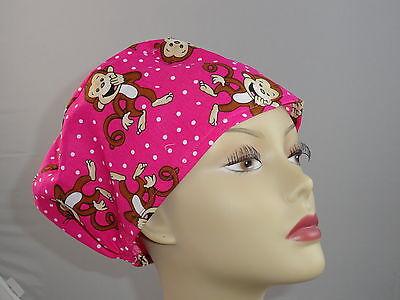Womens Surgical_scrub Hat_cap_funny_monkeys_hot Pink_cute_happy