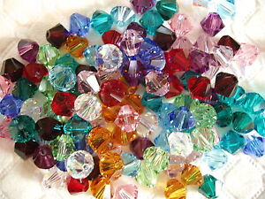 60 BIRTHSTONE MIX SWAROVSKI CRYSTAL 6mm LOOSE BEADS