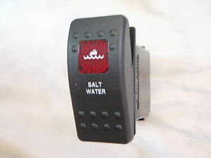 SALTWATER-PUMP-SWITCH-MARINE-BOAT-PANEL-CARLING-V1D1-1-RED-LENS-BLACK-CONTURA-II