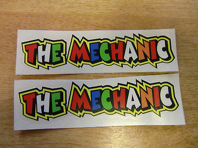 """Valentino Rossi style text - """"THE MECHANIC""""  x2 stickers / decals  - 5in x 1in"""