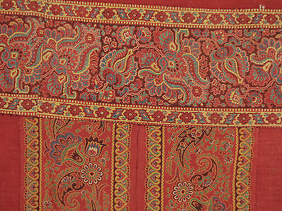 Old French Curtain Provence Provencal Turkey red w/ printed border c1815